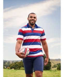 Short Sleeve Oxford Collar Rugby - Red - RED/WHITE/BLUE