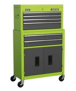 Sealey 6 Drawer Topchest & Rollcab Combination with Ball-Bearing Slides - Hi-Vis Green/Grey - Image