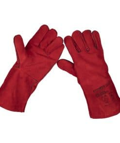 Sealey Red Lined Leather Welding Gauntlets - Pair - Image