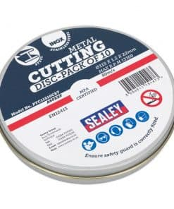 Sealey Cutting Disc Flat Stainless Steel 115 x 1.2 x 22mm Metal Tin - Image