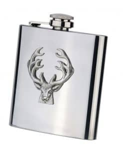 6oz Stainless Steel and Pewter Motif Hip Flasks - STAG