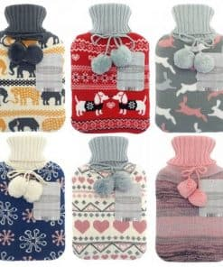 Country Club Hot Water Bottle with Knitted Cover - Image