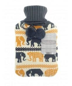 Country Club Hot Water Bottle with Knitted Cover - Yellow Elephant