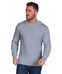 Raging Bull Big & Tall - Cable Knit Crew Neck - GREY MARL