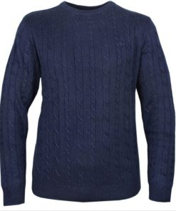 Raging Bull Big & Tall - Cable Knit Crew Neck - NAVY