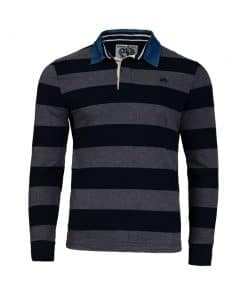 Raging Bull Mens Crest Embroidered Stripe Rugby Shirt - GREY MARL